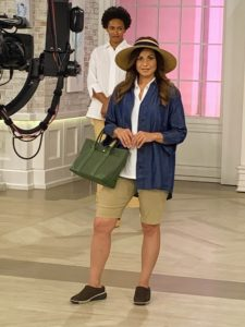 The chambray shirt can be worn over a t-shirt or alone - during the day or out for a casual dinner. Also modeled here - my Stretch Twill Bermuda Shorts and my small size Canvas Tote with Leather Trim.