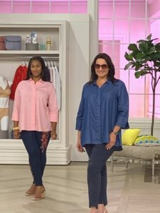 This TSV blouse features a button-front closure with a hidden placket, a slight A-line shape, a hi-low hem, 3/4-length sleeves, a split V-neckline, and a sturdy collar. In addition, it is made to have a very relaxed and roomy fit.