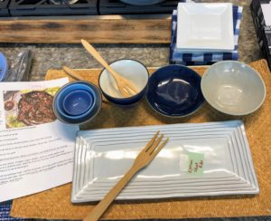 Before every television cooking segment, bowls, platters and utensils are always prepared and labeled, so there is no confusion or rush for items at the last second.