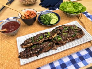 At the next station - Korean Short Ribs. These ribs are cut flank style and then marinated before being grilled for only two to three minutes per side - until it is cooked through.