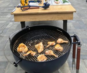 Look how golden the chicken is - so perfect. I also talked about keeping the grill clean. Always clean the grill after every use. I like to use my long grilling tongs from Macy's with a paper towel and a little oil to get the food remnants off the grill while it is still warm. https://mcys.co/2KGL0pD