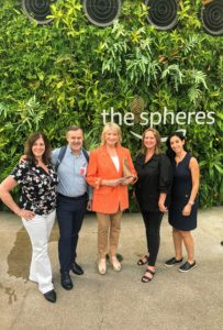Kevin took this fun snapshot of our group - Carolyn D'Angelo, Jerry Haggerty, me, Kim Miller-Olko and Stella Ciccarone. What a fun trip to The Spheres.
