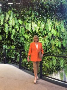 Here I am in front of the Living Wall. It is an innovative demonstration of biodiversity. The Spheres' horticulture team planted so much into every inch of space.