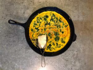 On the last day of our stay, I made everyone a spinach and onion frittata.