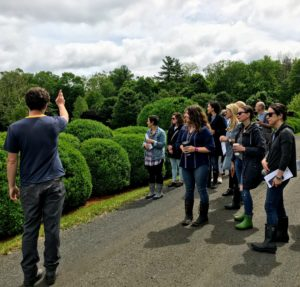 Next on the tour was the great Boxwood Allee. Ryan walked the group down the allee, stopping at various points to show plantings and structures, and to answer any questions.