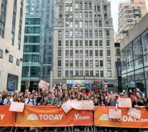 I took this photo of the crowd at one end of Rockefeller Plaza waiting patiently for the show to start. It's so much fun doing these segments in front of a LIVE audience.