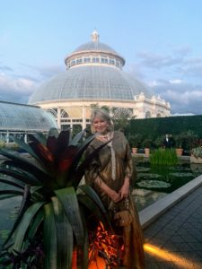 After seeing the Rose Garden, we were off to the Conservatory for the Ball. Here I am in the Palm Court in front of the dome and reflecting pool.