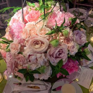 Here is the centerpiece at our table with gorgeous shades of pink roses. (Photo by Angela Pham/BFA)