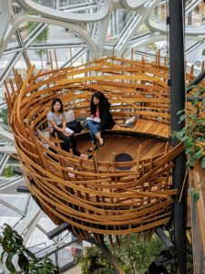 The Bird's Nest sits above a larger seating area and is used for smaller employee meetings.