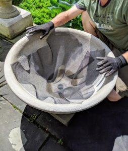 This pot is one of four I purchased several years ago from Lunaform, a pottery studio in West Sullivan, Maine where they create extraordinary garden planters and urns – many of them reminiscent of vessels found in ancient Greek and Roman gardens. http://www.lunaform.com/