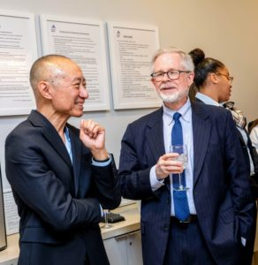 After the ribbon-cutting, everyone enjoyed refreshments in the new Center. Here are Dr. Siu and State Assembly Member Dick Gottfried. (Photo courtesy of Mount Sinai Hospital)