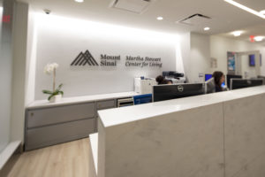 This is the front desk for the Center - another light and inviting space. (Photo courtesy of Mount Sinai Hospital)