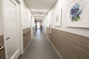 This is the main hallway at the Center leading to the nine examination rooms and other treatment areas. (Photo courtesy of Mount Sinai Hospital)