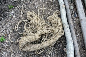 We also use a lot of jute twine for many of our outdoor projects. Jute is the name of the fiber used to make burlap cloth. The fibers are also woven into curtains, chair coverings, carpets and of course, twine and rope.