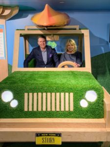 Here I am with Jeff Gennette, chairman, and CEO of Macy's, Inc. inside the life-sized wooden jeep.