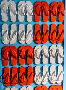 I took this photo of all these fun flip-flops arranged on the wall. They are all American made by Tidal New York, a company that focuses on creating ethically and locally-sourced flip flops.