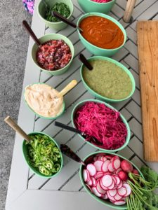 We had lots of salsas to go around - Verde, Roja, spicy mayonnaise, pickled onion pickled cabbage, micro cilantro, sliced Serrano, and sliced radish.