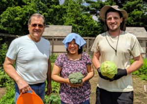 The day was quite warm and humid, but everyone at the farm is always so excited to harvest from the garden. Carlos, Sanu, and Ryan are ready to pick more of these beautiful vegetables.