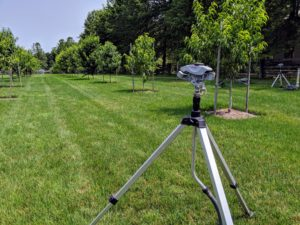 I love these tripod sprinklers – the height, distance and spray patterns can be adjusted to suit so many garden needs. They're also very, very sturdy, and because they're all-metal, they can stand-up to frequent use around the property. This is one of several sprinklers in my large orchard.