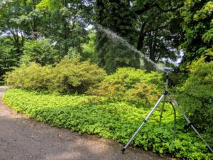 Once the watering in one area is done, it's important to turn off the water at the source. Just turning off at the sprinkler puts a lot of pressure on the hoses and pipes.