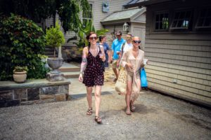 Here are Emily Foster and Rebecca Szymczak on the way to their table. (Photo by Paytn Leigh)
