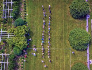 Our day's photographer, Peytn Leigh, took a series of drone images. Here is one looking down on our egg toss lineup. See more of her photographs on her Instagram page @PaytnLeigh.