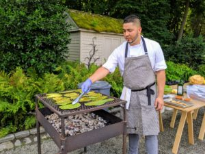 And here's Rene cooking the cactus paddles, nopales, for our tostadas pico de Gallo.