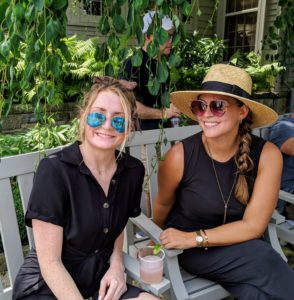 Erin Maguire and Lindsey Groginskey relaxed in the shade on my terrace. The day hit a high of 91-degrees Fahrenheit.