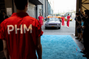 Here we are pulling into the Classic Car Club Manhattan - our pit crew was waiting. (Photo by Nick Laham, PHM)