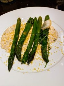 Susan had the cedar baked green asparagus with truffle aioli. She also ordered the broiled Maine lobster.