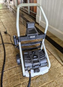 Helen is using my powerful Martha Stewart Pressure Select 1450/2030 PSI Electric Pressure Washer from my collection at QVC. This easy-to-use pressure washer has intense jets that blast away all the grime. Everyone on the crew loves it.