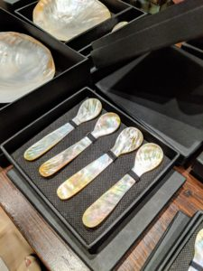 I bought this box of mother-of-pearl spoons - they are perfect for serving caviar. Caviar should always be served from a non-metal spoon, so it does not affect the caviar's fragile flavor.
