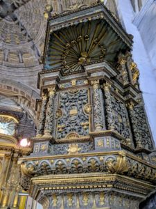 This is the baroque pulpit with its ornate gold decorations.