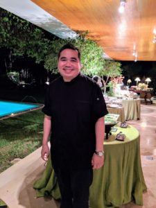 Then it was time for dinner. This is Chef Gilbert Pangilinan who prepared a delicious variety of Filipino dishes for our meal. Chef Gilbert trained in the United States and also worked at Nobu in New York and at the Savoy in London. Today he is chef and co-owner of his own restaurants and catering businesses in the Philippines.