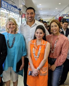 We also stopped at the Greenhills Mall to shop for pearls. Greenhills opened in the early 1970s and was among the first shopping centers to be established in the Philippines. Now, it has more than two-thousand vendors and shops. Here I am with San Juan Mayor Francis Zamora, his wife Keri Neri, and Berna.