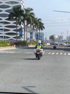 "To get through the traffic in Manila, we were provided ""outriders"" - skilled motorcyclists from the government who clear traffic from in front of the vehicles they are escorting."