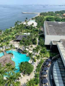 """I stayed at the Sofitel Philippine Plaza Manila hotel. This is the view from the """"Opera Suite"""" overlooking Manila Bay, a natural harbor which serves the Port of Manila."""