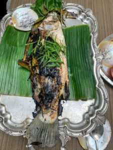 We enjoyed lots of seafood including this grilled Philippine Sea Bass.