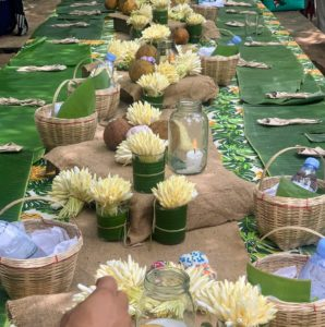 On one side, we saw a long table dressed with traditional banana leaf placemats and baskets made right here in Pampanga.