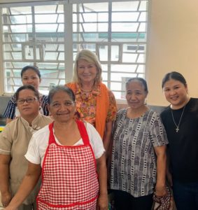 I stepped into the kitchen to see the food being prepared for lunch. Here I am with some of the talented cooks - Lourdes, Perla, Maj Lazatin Imperial, who took charge of the kitchen for the day's lunch, and the rest of the kitchen staff.