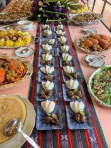 The buffet was filled with delicious traditional dishes. There was more than enough food for everyone.