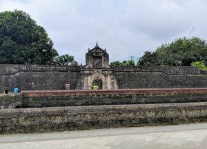 This is the main gate of Fort Santiago, a citadel first built by Spanish navigator and governor Miguel López de Legazpi. The fort is one of the most important historical sites in Manila. Several lives were lost in its prisons during the Spanish Empire and World War II. José Rizal, one of the Philippine national heroes, was imprisoned here before his execution in 1896.