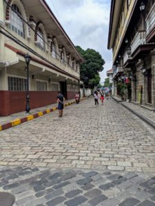 Intramuros is the oldest district and historic core of Manila. The streets are lined with old buildings, and some roads are still in their original cobblestoned form.