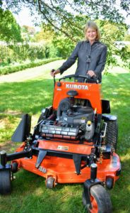 Here I am on my SZ22-48 stand-on mower. We use this to mow areas where the riding mower cannot go. https://bit.ly/2kQnPPh