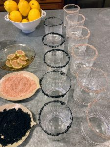 And of course, the adults also have delicious cocktails - these glasses are topped with Himalayan pink salt and black salt for margaritas.