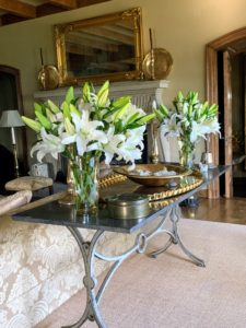 Gorgeous arrangements don't always have to be giant in size – these lily arrangements work perfectly on this table in my living room.