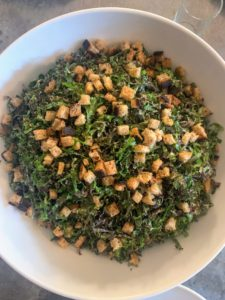 For another meal, we enjoyed this delicious kale salad, using kale I grew in my garden.