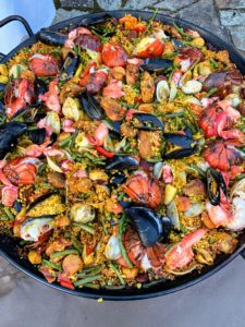 "Here is the delicious paella all done. Everyone loved it and came back for seconds - some even thirds. We always use a version of my paella recipe which was printed in our magazine ""Living"" in April 1999. https://www.marthastewart.com/1050096/seafood-paella"
