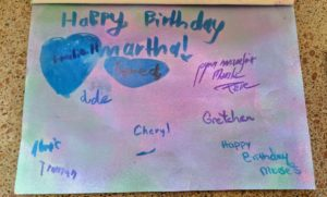 And here is the back - everyone's names and well wishes were handwritten in blue and purple.
