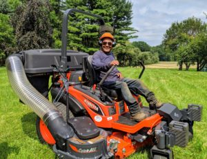 Pete does a lot of the mowing in the paddocks - he loves the speed and efficiency of the new mower.
